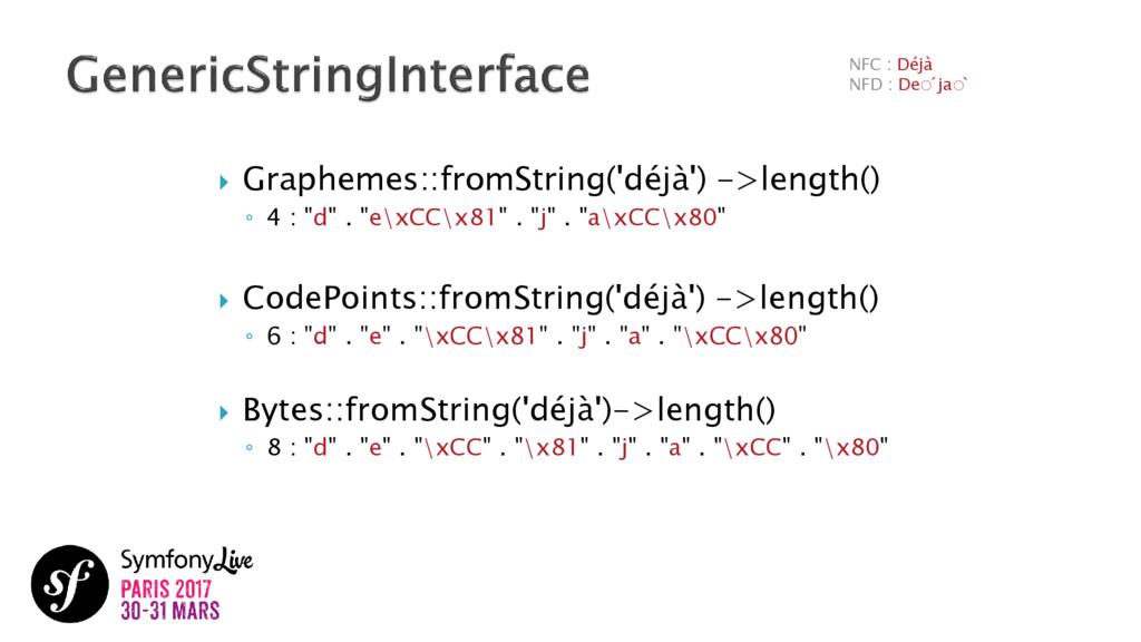  Graphemes::fromString('déjà') ->length() ◦ 4 ...