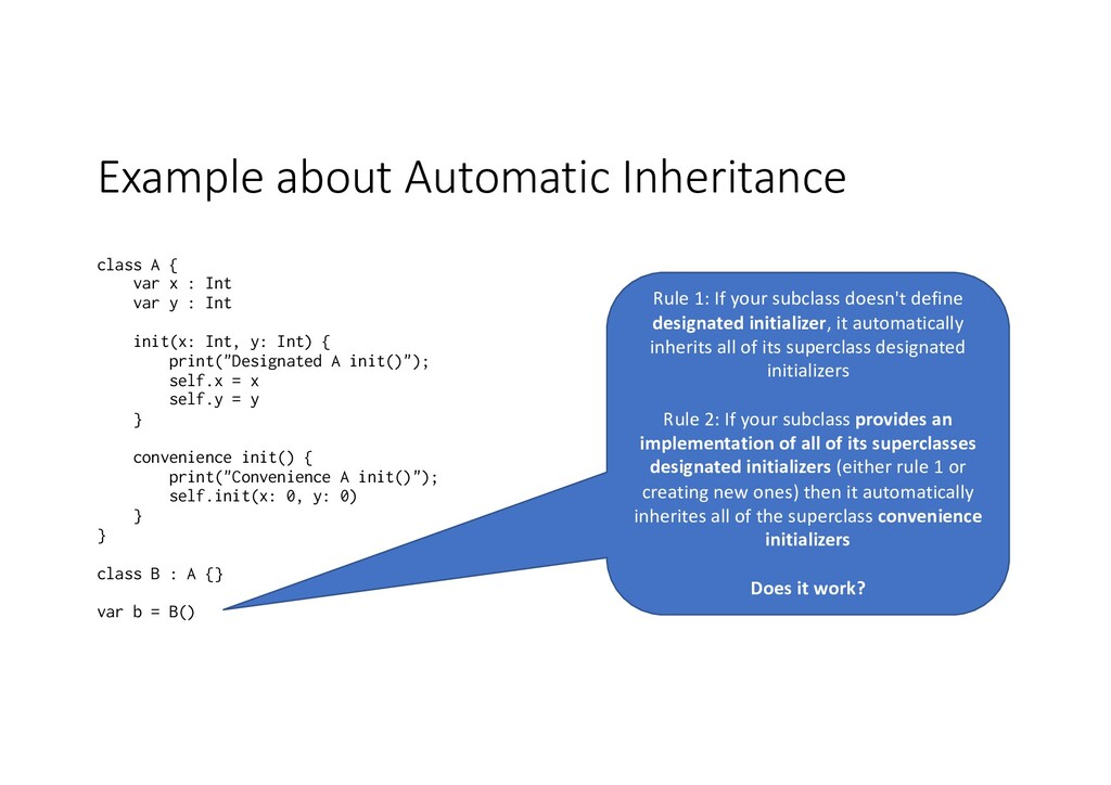 Example about Automatic Inheritance class A { v...