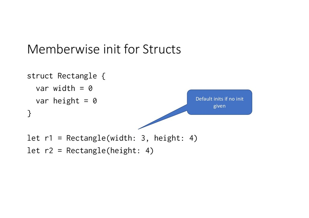 Memberwise init for Structs struct Rectangle { ...