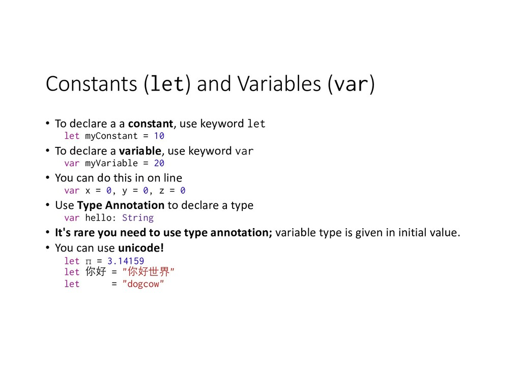 Constants (let) and Variables (var) • To declar...