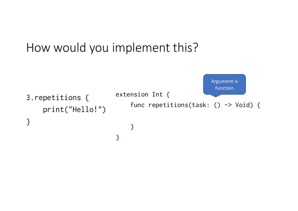 How would you implement this? 3.repetitions { p...