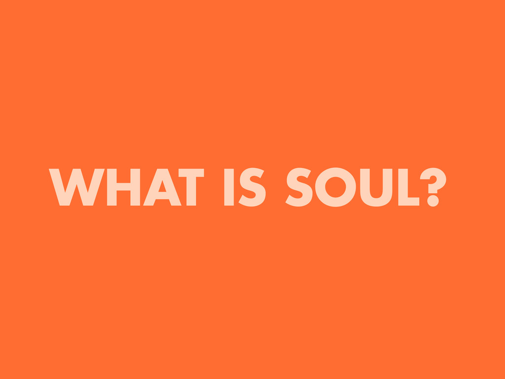 WHAT IS SOUL?