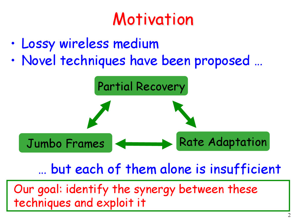 2 Motivation •  Lossy wireless medium •  Novel ...