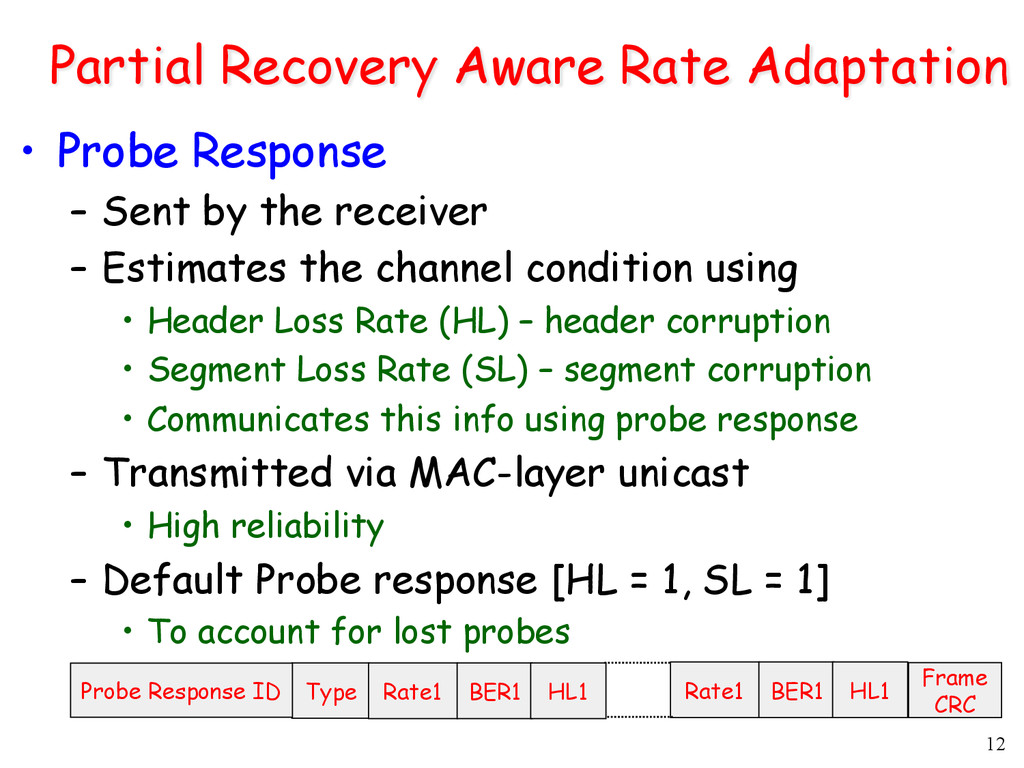 12 Partial Recovery Aware Rate Adaptation • Pr...