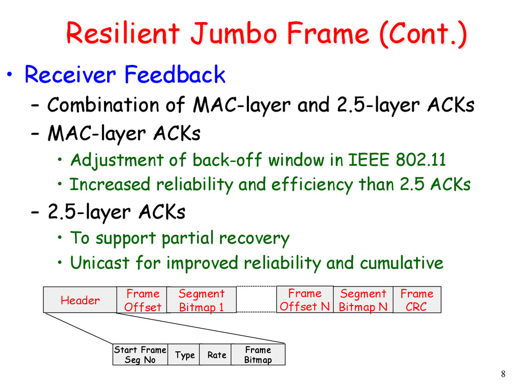 8 Resilient Jumbo Frame (Cont.) • Receiver Fee...
