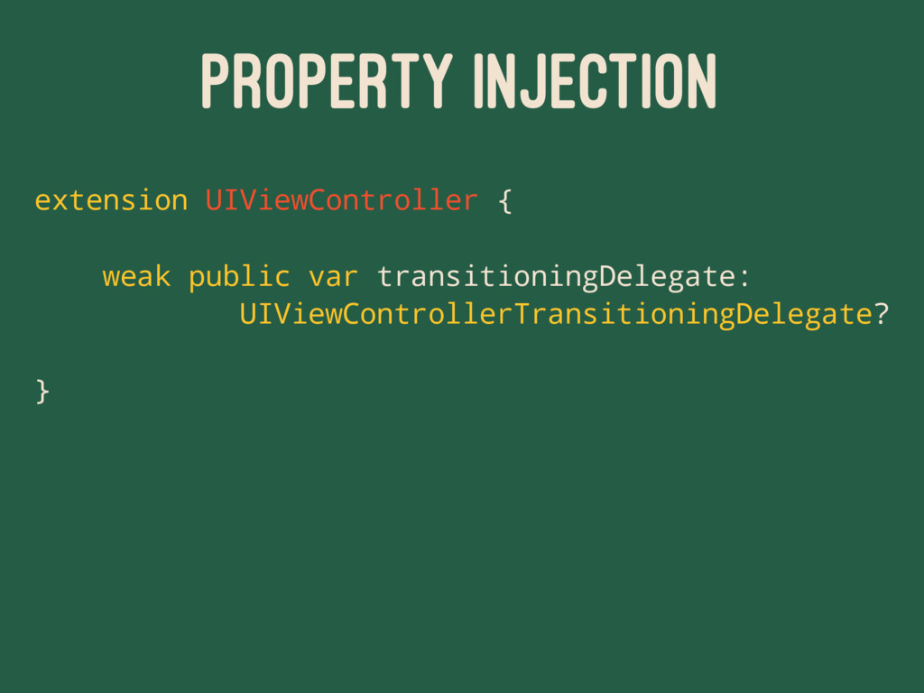 PROPERTY INJECTION extension UIViewController {...