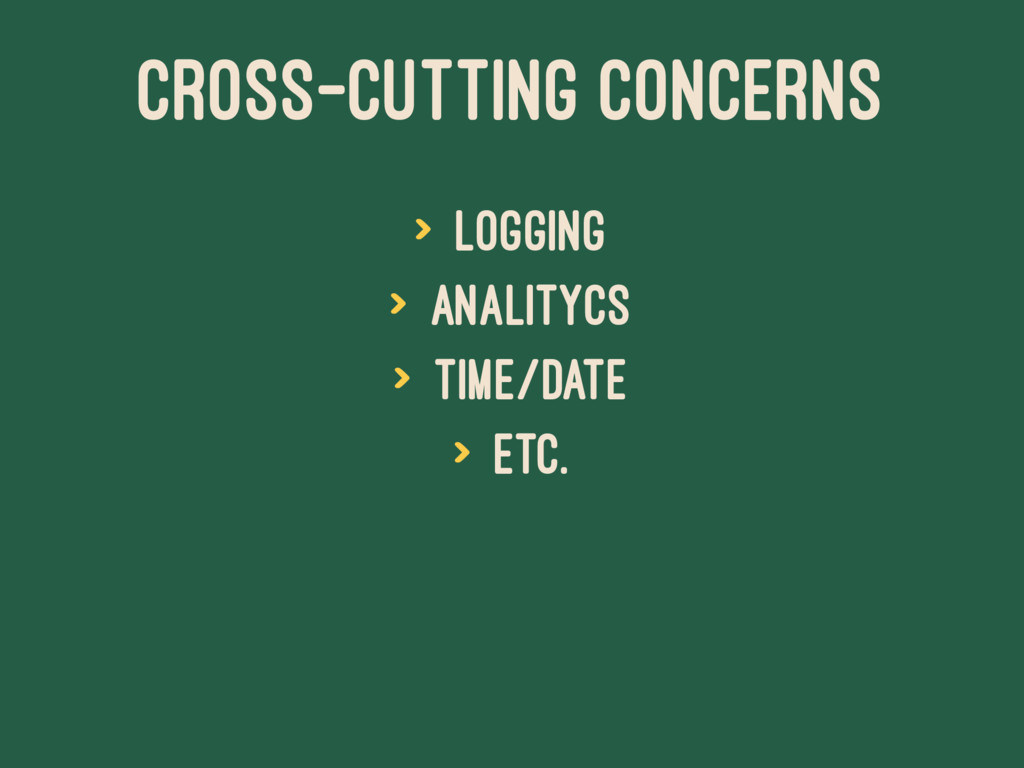 CROSS-CUTTING CONCERNS > logging > analitycs > ...