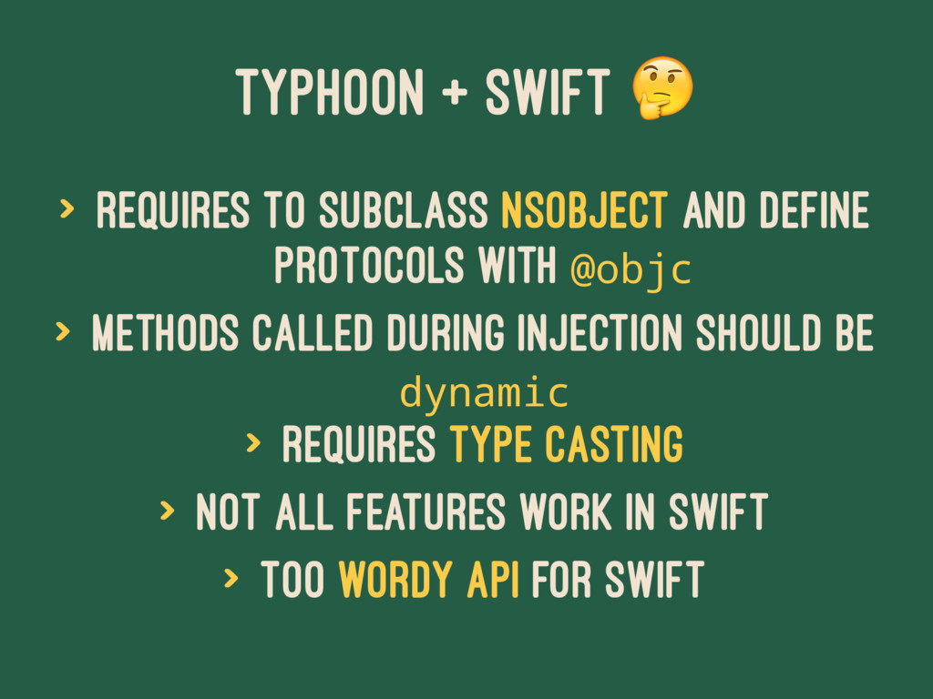 TYPHOON + SWIFT ! > Requires to subclass NSObje...