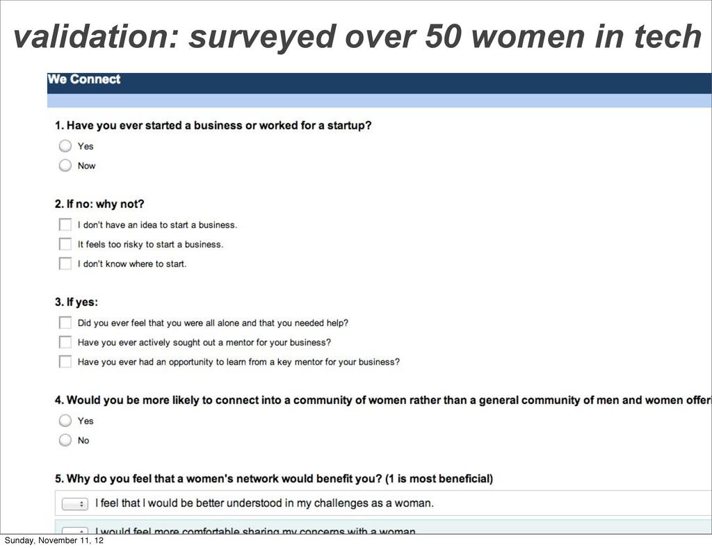 validation: surveyed over 50 women in tech Sund...