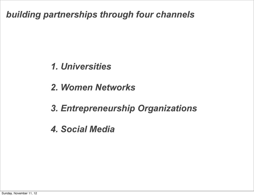 building partnerships through four channels 1. ...