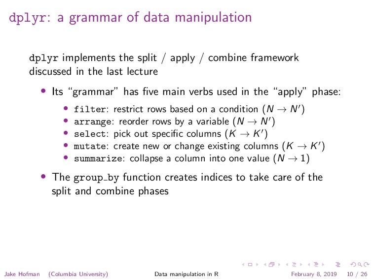 dplyr: a grammar of data manipulation dplyr imp...