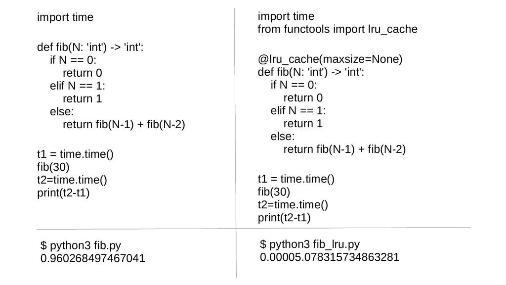 import time def fib(N: 'int') -> 'int': if N ==...