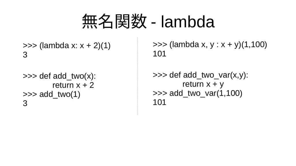 無名関数 - lambda >>> (lambda x, y : x + y)(1,100) ...