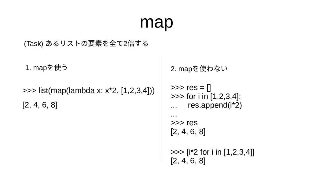 map >>> list(map(lambda x: x*2, [1,2,3,4])) [2,...