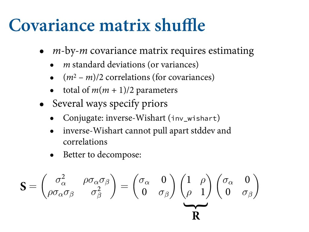 Covariance matrix shuffle • m-by-m covariance m...