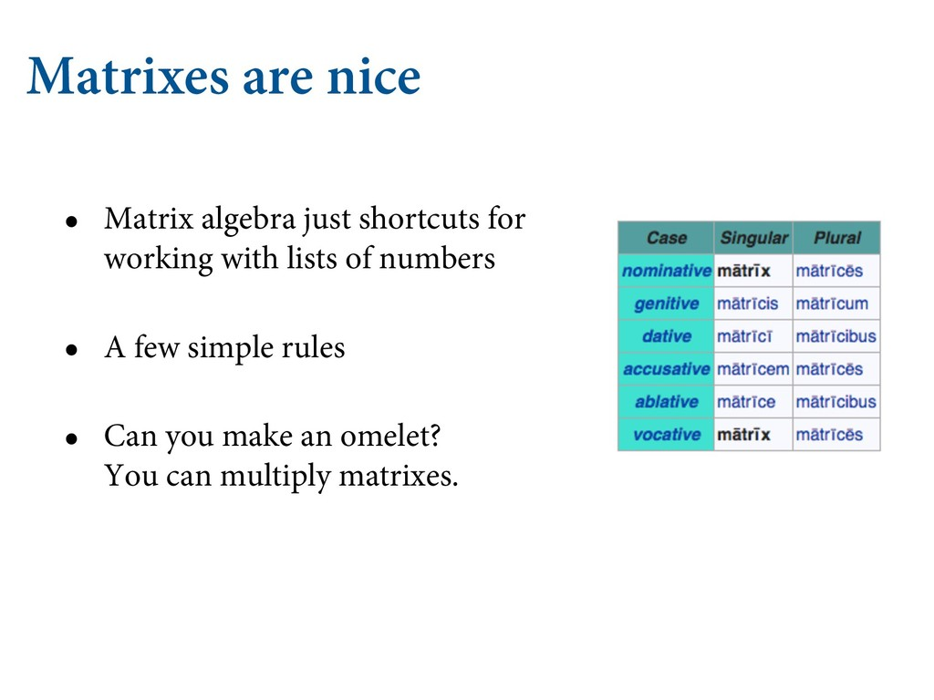 Matrixes are nice • Matrix algebra just shortcu...