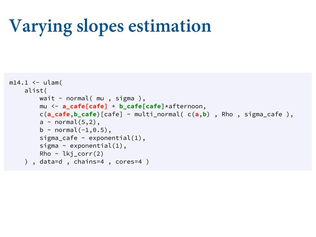 Varying slopes estimation m14.1 <- ulam( alist(...