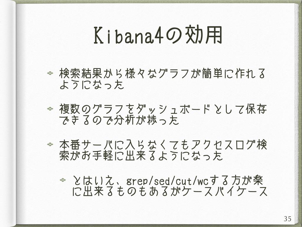 Kibana4の効用 検索結果から様々なグラフが簡単に作れる ようになった 複数のグラフをダッ...