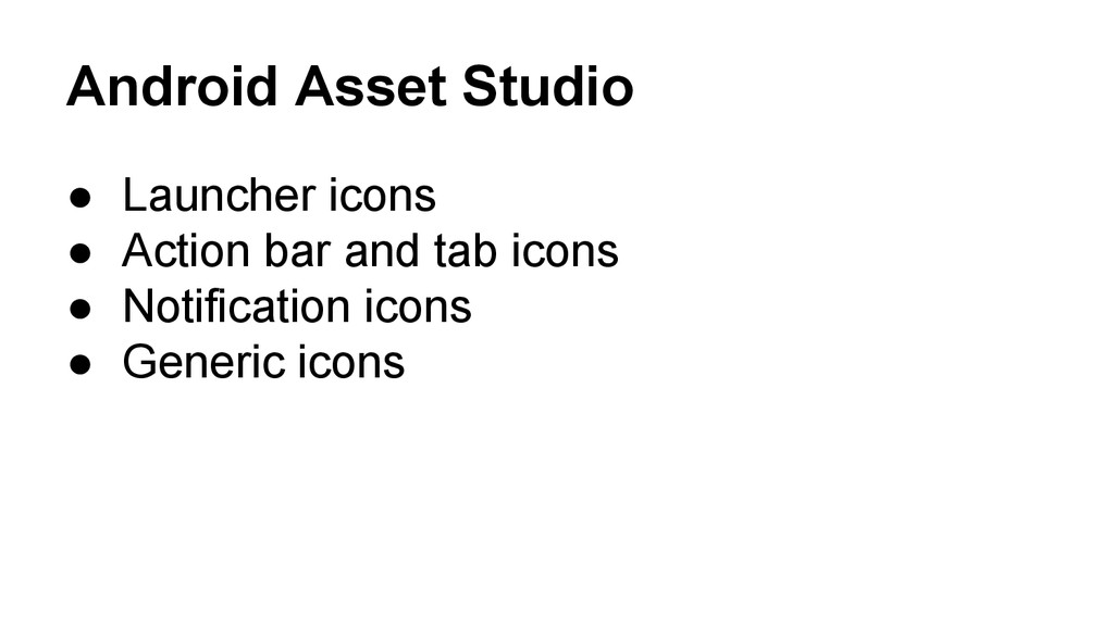 Android Asset Studio ● Launcher icons ● Action ...