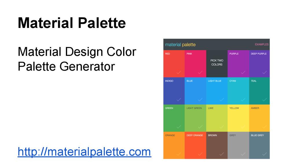 Material Palette Material Design Color Palette ...