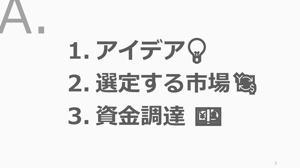 A. 3 1. アイデア 2. 選定する市場 3. 資金調達