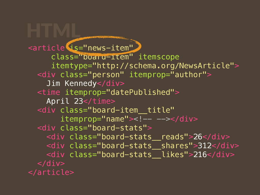 "HTML <article is=""news-item"" class=""board-item""..."