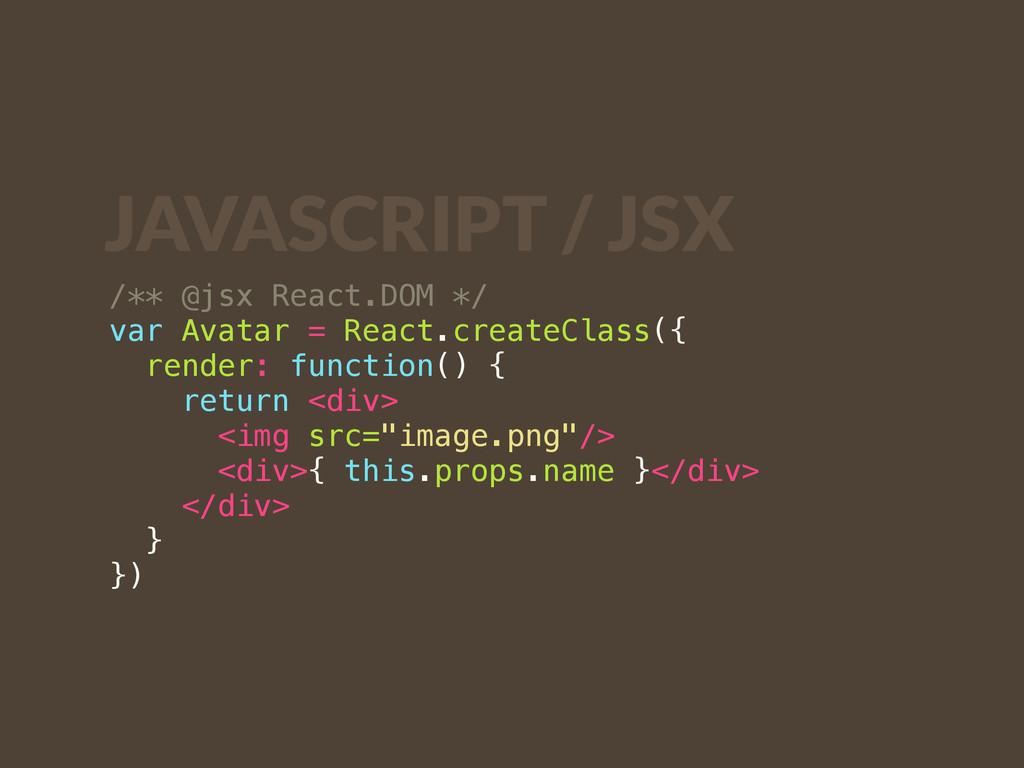 /** @jsx React.DOM */ var Avatar = React.create...