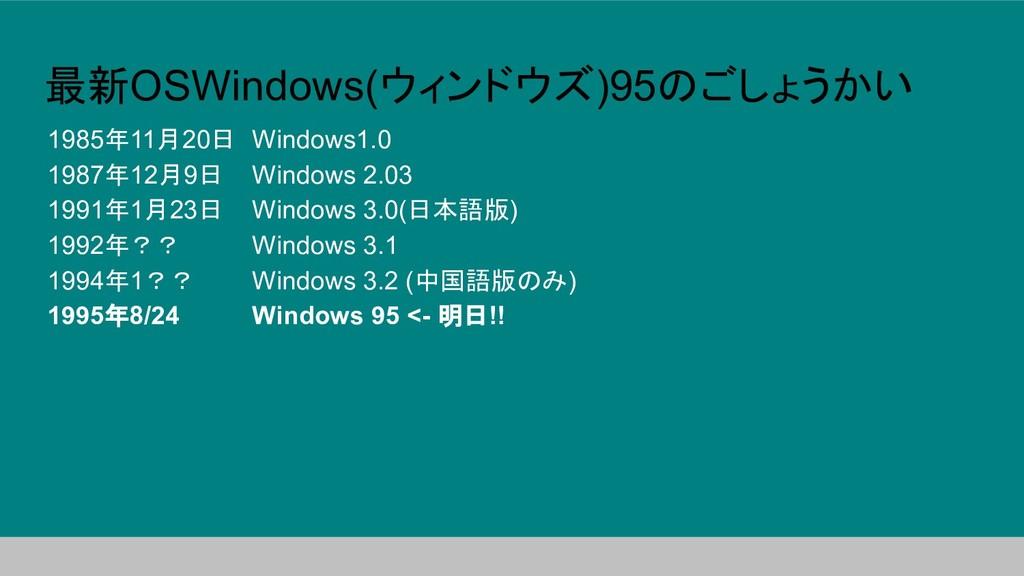 最新OSWindows(ウィンドウズ)95のごしょうかい 1985年11月20日 Window...