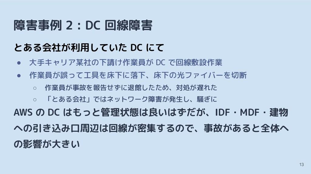 障害事例 2 : DC 回線障害 とある会社が利用していた DC にて ● 大手キャリア某社の...