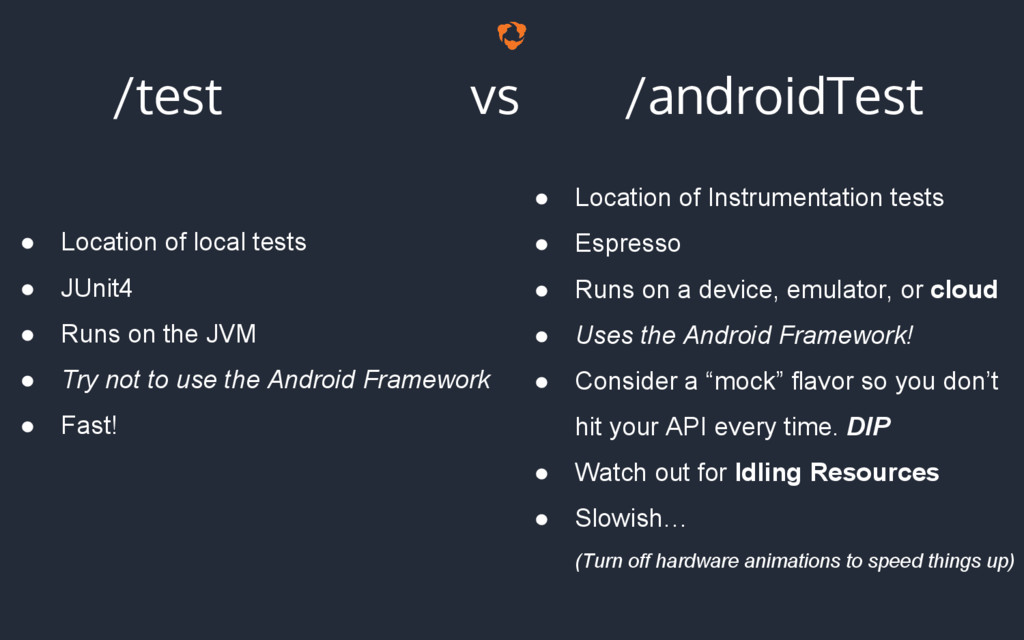 /test vs /androidTest ● Location of local tests...