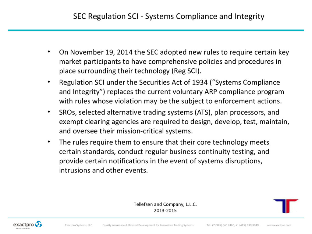 SEC Regulation SCI - Systems Compliance and Int...