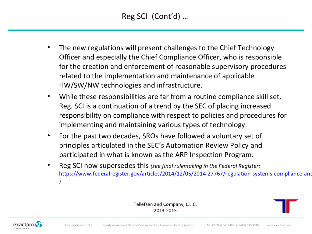 • The new regulations will present challenges t...