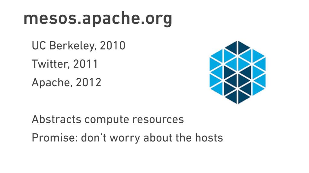 mesos.apache.org UC Berkeley, 2010 Twitter, 201...