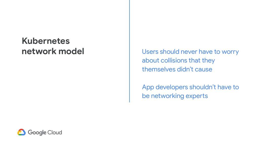 Kubernetes network model Users should never hav...
