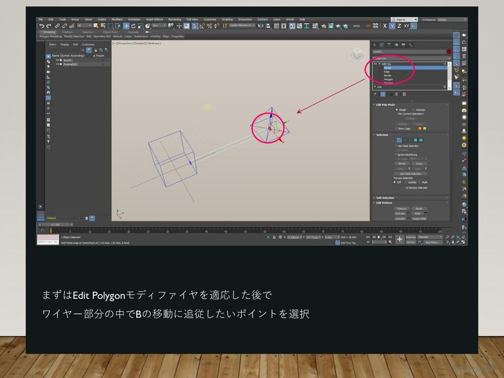 まずはEdit Polygonモディファイヤを適応した後で ワイヤー部分の中でBの移動に追従し...