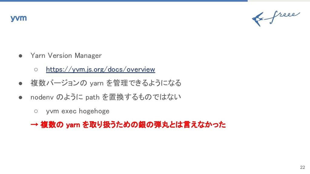 22 yvm ● Yarn Version Manager ○ https://yvm.js....