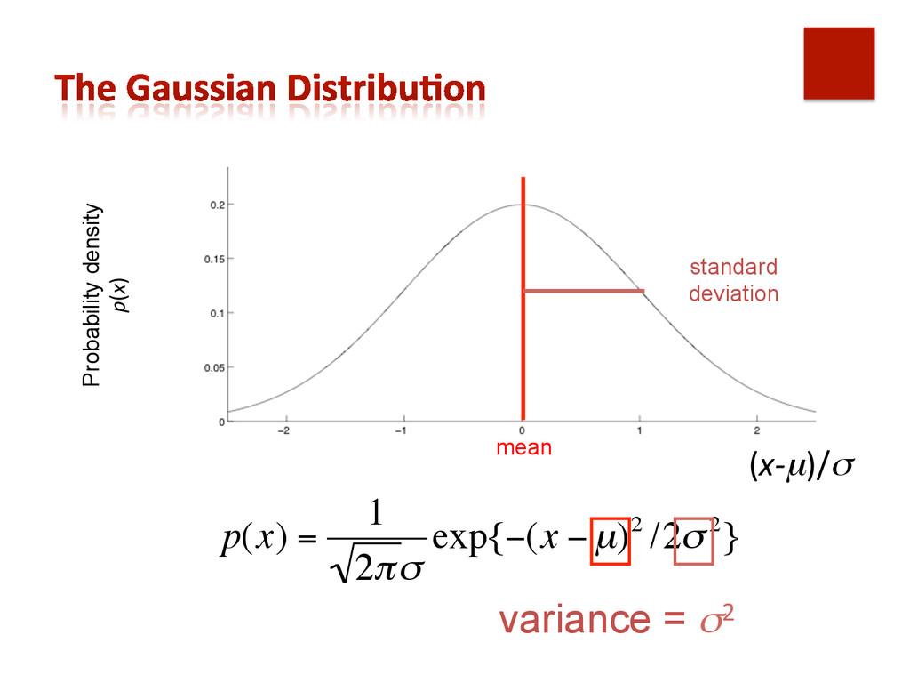 p(x) = 1 2πσ exp{−(x − µ)2 /2σ2} Probability de...