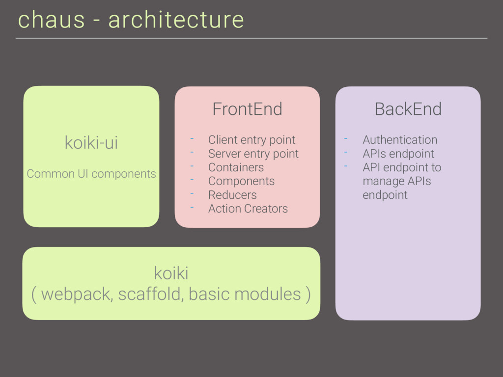 chaus - architecture koiki ( webpack, scaffold,...