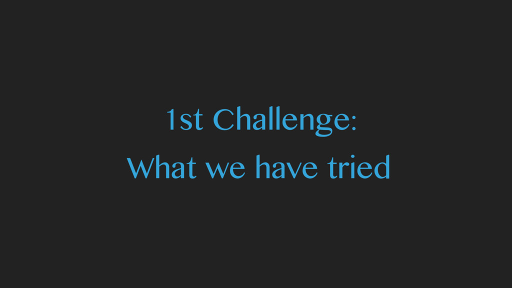 1st Challenge: What we have tried