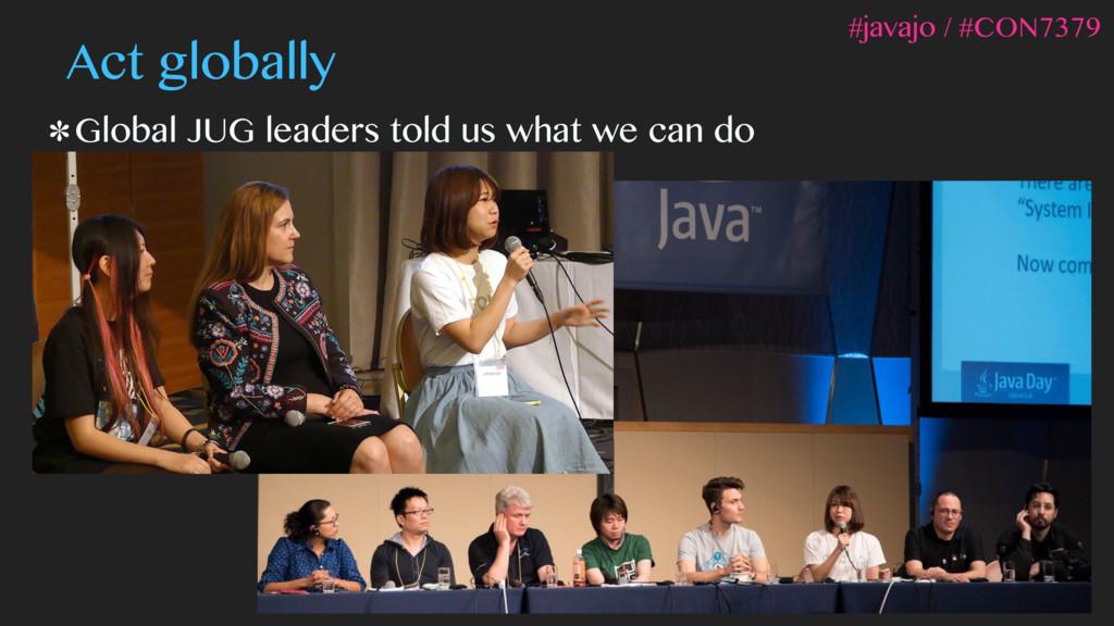 Act globally Global JUG leaders told us what we...