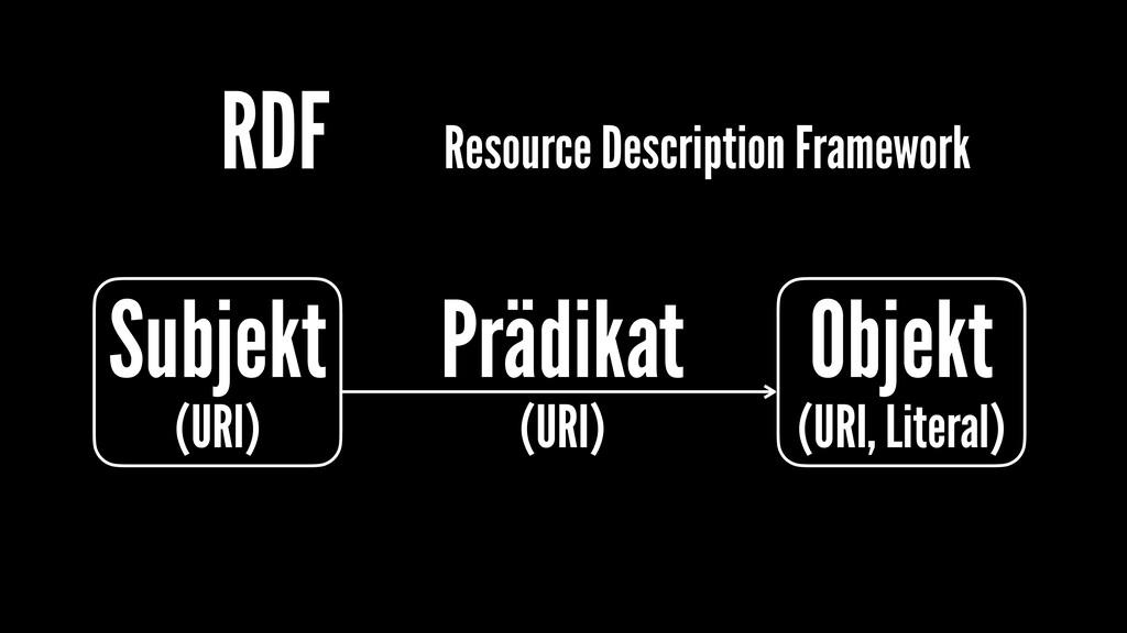 RDF Subjekt (URI) Objekt (URI, Literal) Prädika...