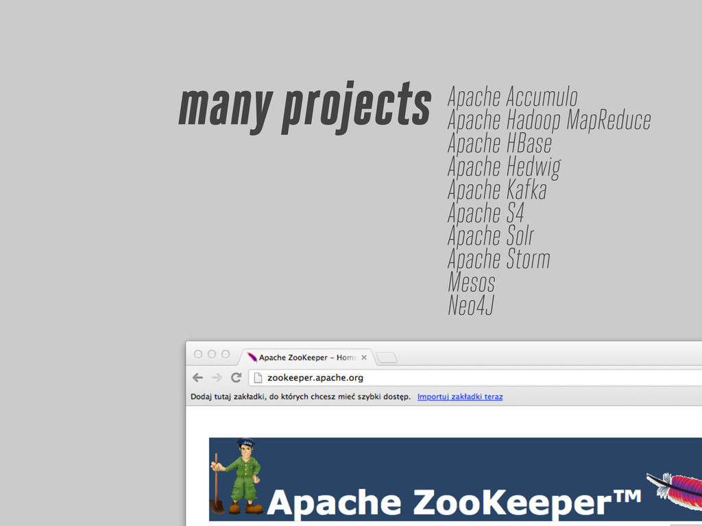 many projects Apache Accumulo Apache Hadoop Map...