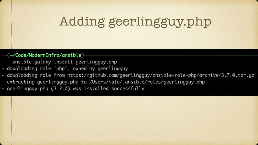 Adding geerlingguy.php