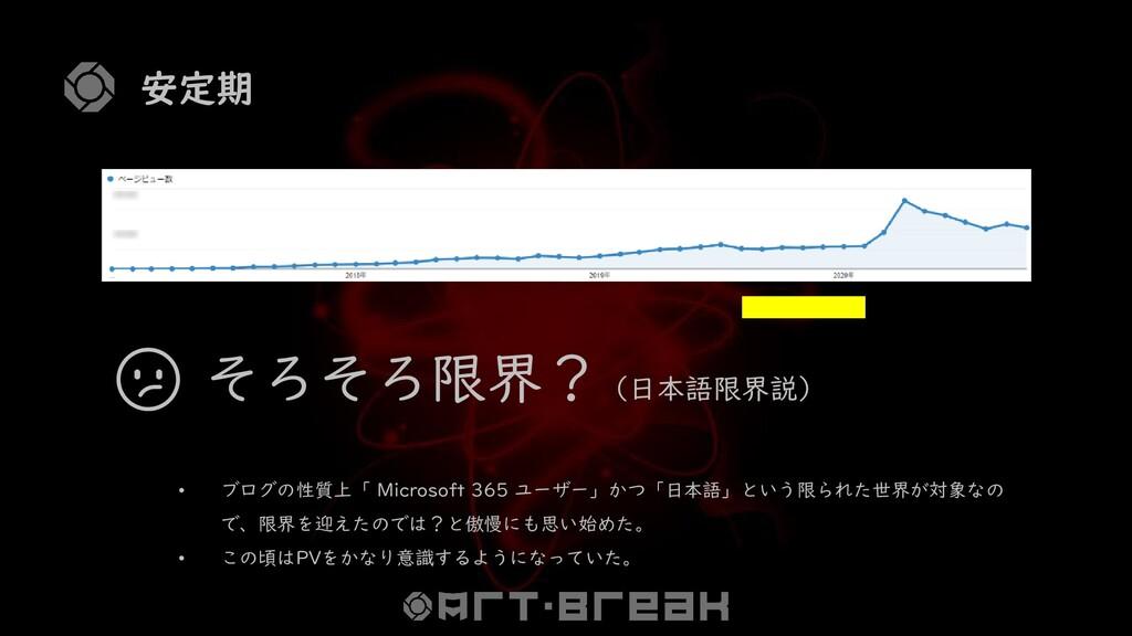 安定期  そろそろ限界?(日本語限界説) • ブログの性質上「 Microsoft 365 ユ...