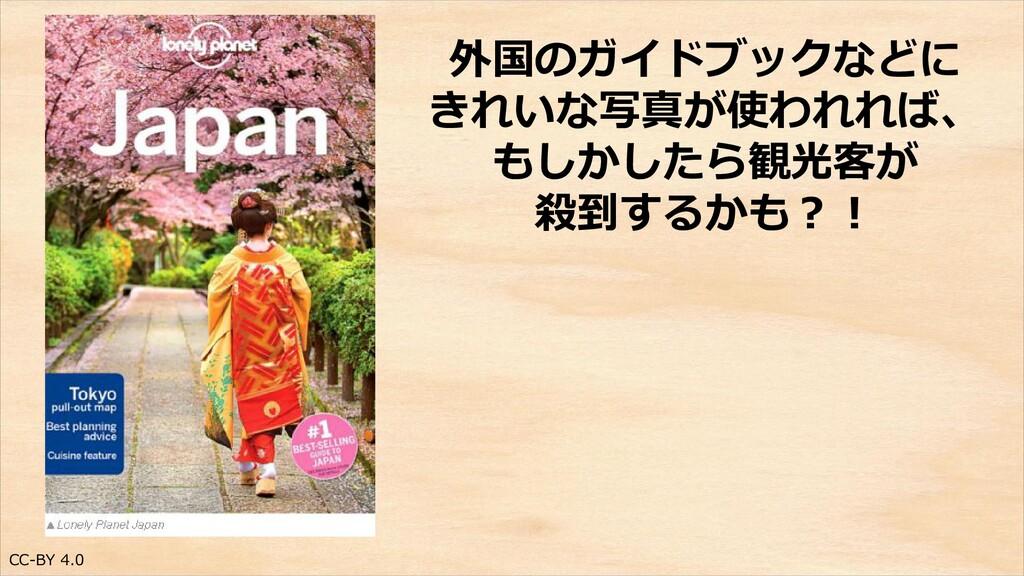 CC-BY 4.0 外国のガイドブックなどに きれいな写真が使われれば、 もしかしたら観光客が...