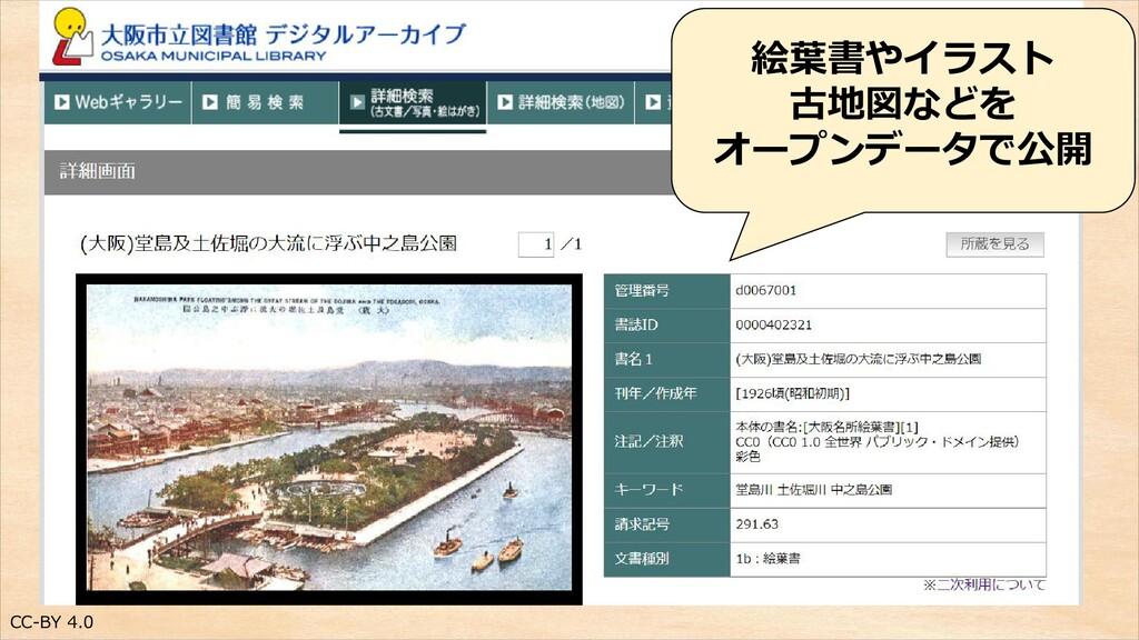 CC-BY 4.0 絵葉書やイラスト 古地図などを オープンデータで公開