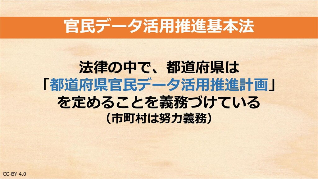 CC-BY 4.0 官民データ活用推進基本法 法律の中で、都道府県は 「都道府県官民データ活用...