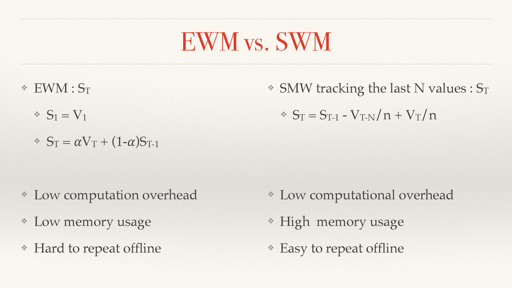 EWM vs. SWM ❖ EWM : ST ❖ S1 = V1 ❖ ST = VT + (1...
