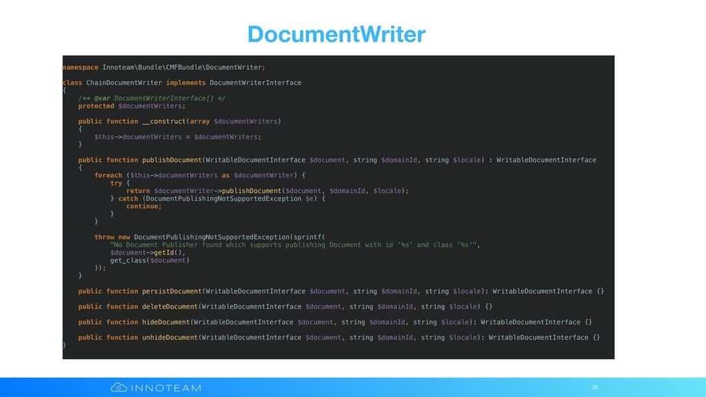 DocumentWriter 25 namespace Innoteam\Bundle\CMF...