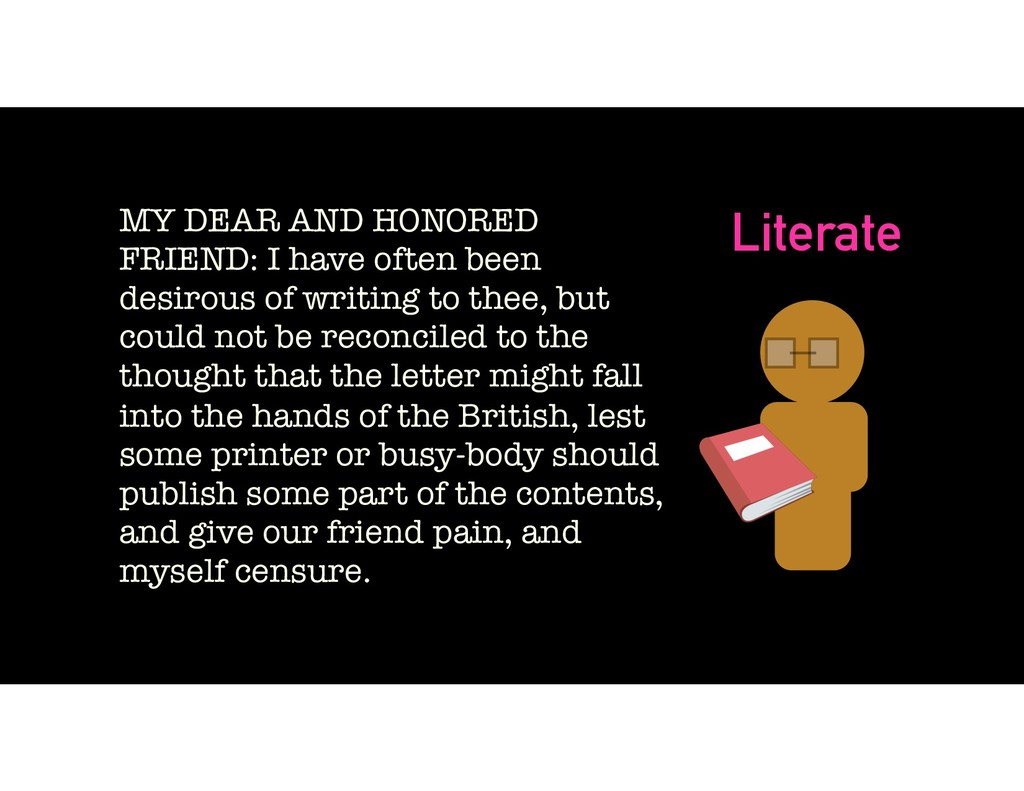 Literate MY DEAR AND HONORED FRIEND: I have oft...